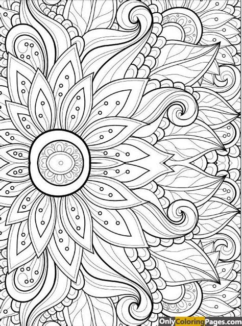 hard flower coloring page for adults free printable
