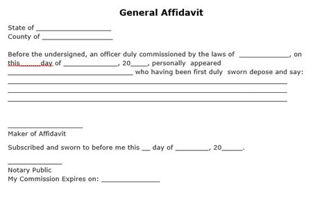 free download simple template of general affidavit form