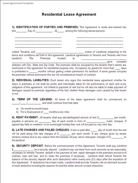 lease templates lease agreement template excel pdf formats