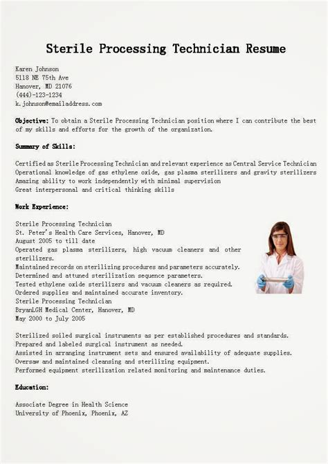 sle cover letter for sterile processing technician resume sles sterile processing technician resume sle