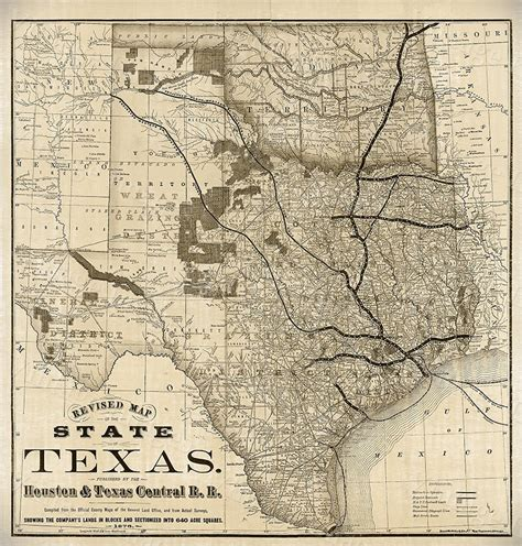 vintage texas map this is a highly detailed map of texas circa 1876