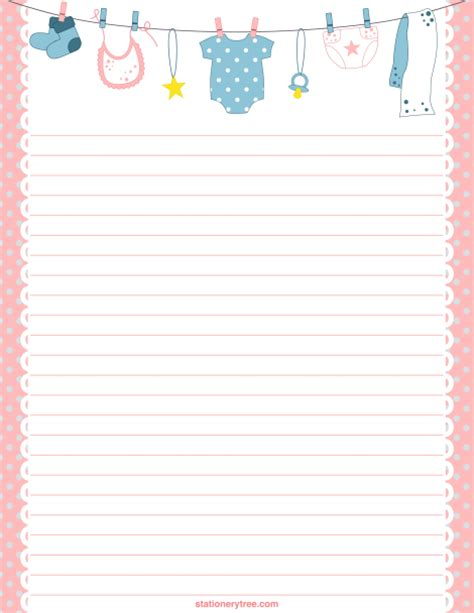 printable stationery items printable baby stationery