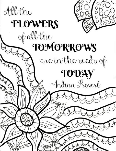 coloring quotes free printable flower quote coloring pages