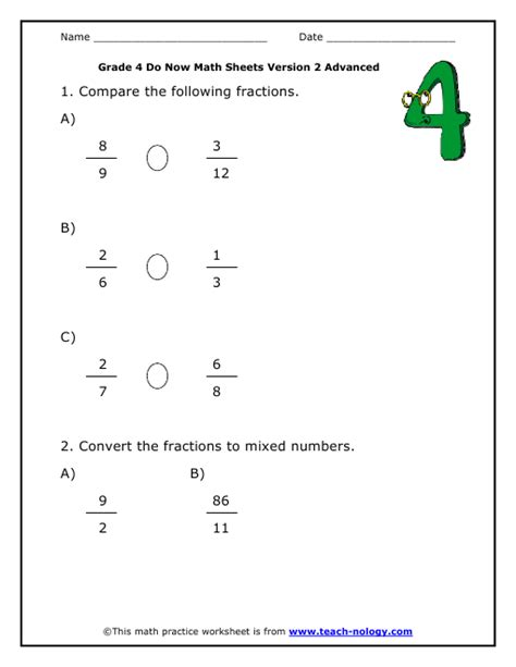 Fractions Worksheets Grade 4 by Math Fractions Worksheets Grade 4