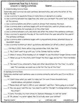 Grammar Worksheets and Tests: Grades 7-8 NO PREP