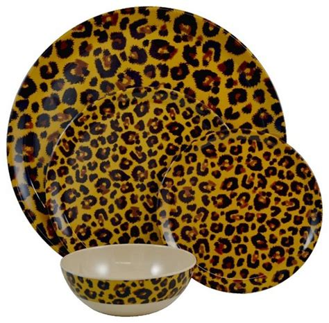 tango leopard 13 piece melamine dinnerware set eclectic dinnerware by overstock com