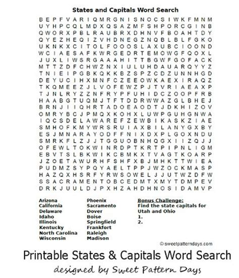 Us Search States And Capitals Word Search Activity Printables States And