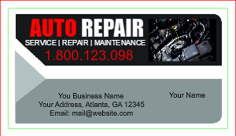 mechanic business cards templates free auto repair business card templates designsnprint
