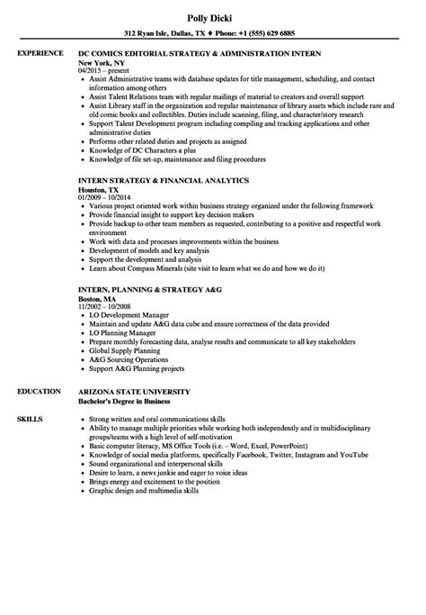 Strategy Internships Ucla Mba by Intern Strategy Resume Sles Velvet