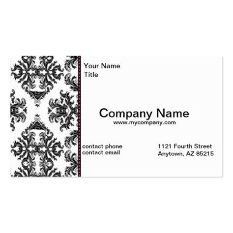 Empty Visa Gift Card Numbers 2016 - black white damask business modern card standard business card zazzle