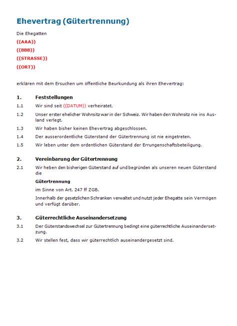 Muster Treuhandvertrag Schweiz Ehevertrag G 252 Tertrennung Muster Zum