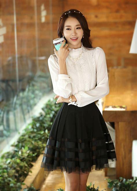Baju Atasan Wanita Murah Atasan Korea Import Louise Top 28 baju borkat korea baju fesyen korea dewasa bahan kombinasi sifon brokat 36m02 dress