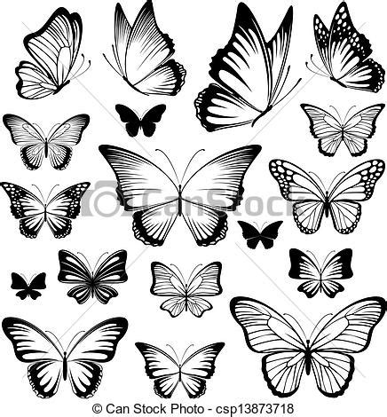 vector clip art of butterfly tattoo silhouettes set of
