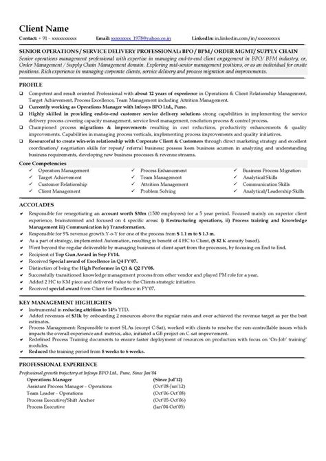 resume format for assistant manager operations bpo free resume sles free cv template free cv sle senior executive resume sle