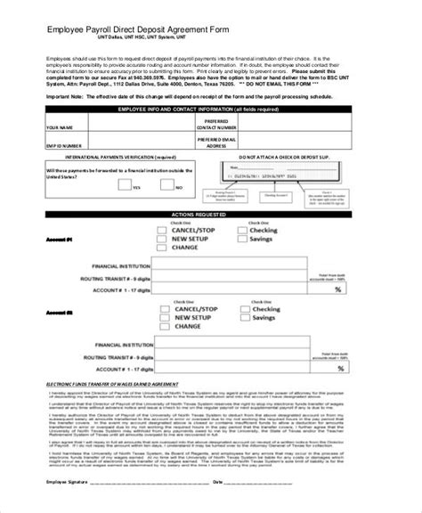direct deposit forms for employees template agreement form sle