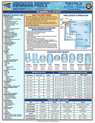 Swimming Pool Construction Quick Card Builder S Book Inc Bookstore Swimming Pool Construction Contract Templates