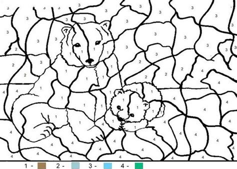 color by number animal coloring pages bear family coloring pages hellokids com