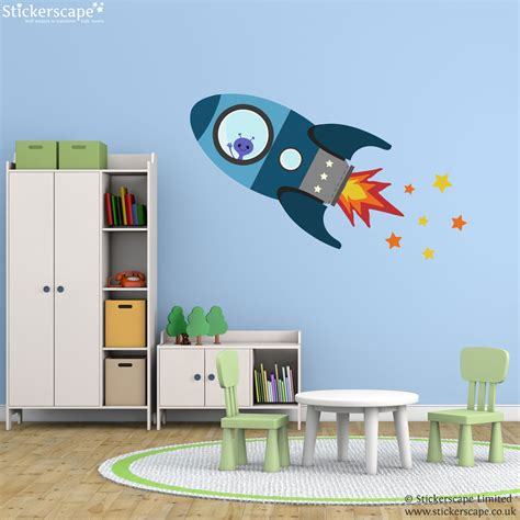space wall stickers uk blue flying rocket wall sticker space wall stickers