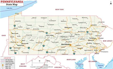 pennsylvania on map of usa pennsylvania state map