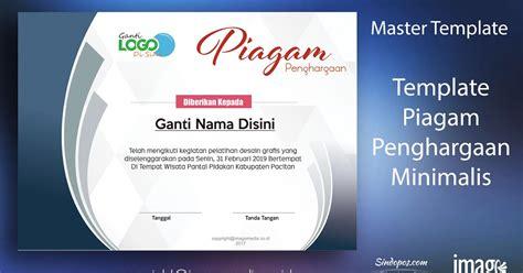 layout sertifikat penghargaan download template piagam penghargaan minimalis imago media