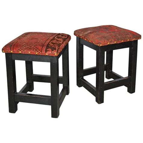Kilim Stools by Pair Of Kilim Covered Stools For Sale At 1stdibs
