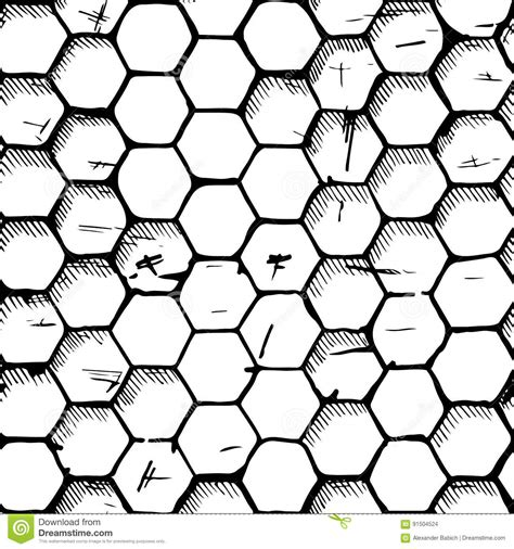 drawing honeycomb pattern simple honeycomb pattern stock vector image 91504524