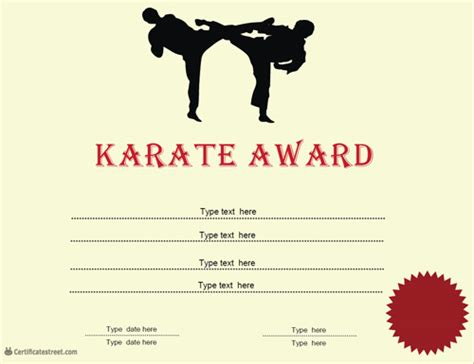 martial certificate templates free sports certificates karate award certificatestreet