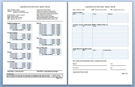 college transcript template homeschool high school transcripts
