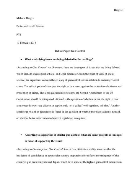 Gun Controversy Essay debate paper gun