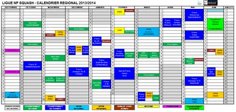 Calendrier Excel 2014 Le Calendrier Nord Squash