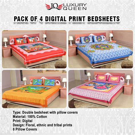 bedsheets buy bedsheets online at best prices in india buy pack of 4 digital print bedsheets 4ddbs1 online at