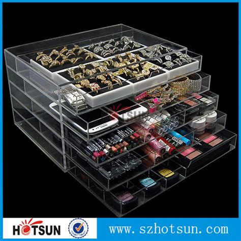 Custom Acrylic Make Up Box medium 5 drawers acrylic makeup storage box clear acrylic makeup organizer suppliers