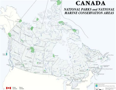 canadian national parks map canada map