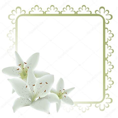 cornice di fiori cornice floreale con fiori di giglio vettoriali stock