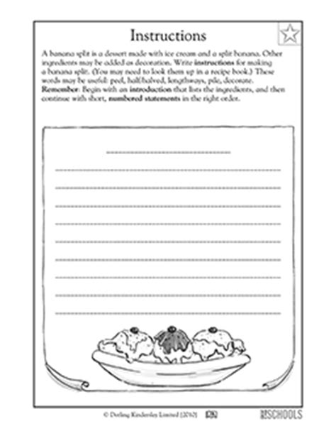 printable written directions 3rd grade writing worksheets writing instructions