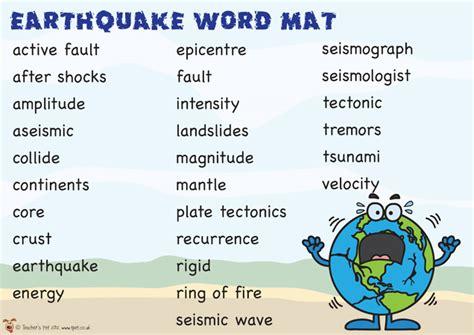 Earthquake Vocabulary | earthquake vocabulary