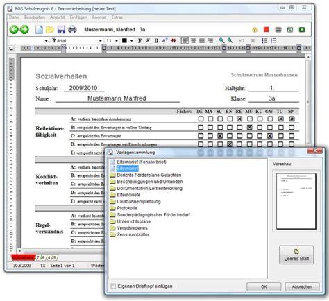 Zeugnisse Schreiben Muster Rorig Software Hilfe Dokumentation Der Lernentwicklung Mit Rgs Schulzeugnis 7