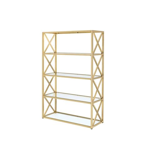 etagere furniture acme furniture milavera etagere clear glass and gold bookcase 92460 the home depot