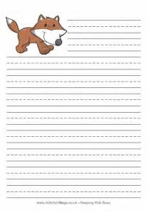 fox writing paper for kids