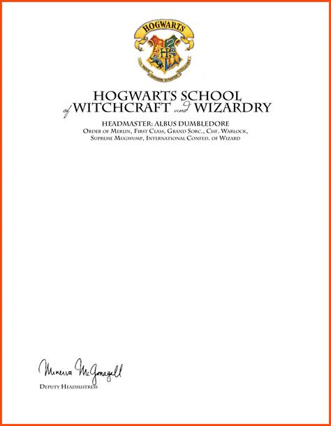 hogwarts letter template program format