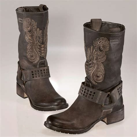 biker boots buy embroidered biker boots 3 year product guarantee