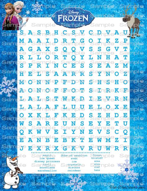 printable frozen word search disney frozen word search game birthday party quick page