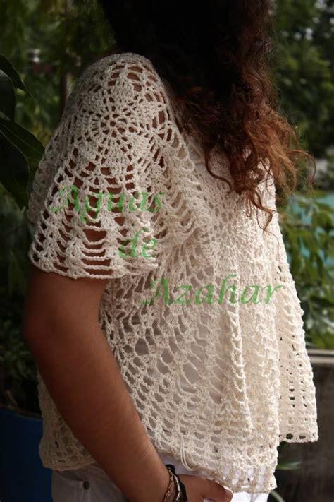 fresco tejido blusa en crochet tejido liviano y fresco en hilo de