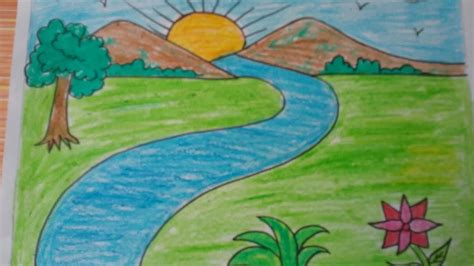Landscape Pictures To Draw And Paint How To Draw A Landscape Drawing Mountains Drawing