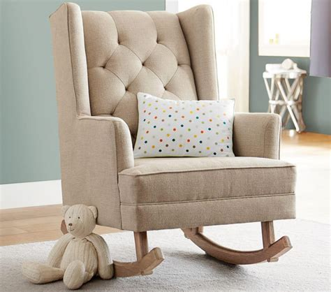 rocking armchair nursery modern tufted wingback rocker stylish nursery chairs