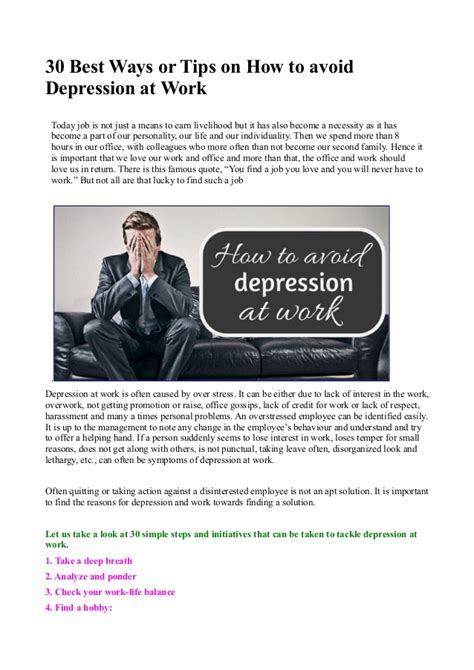 30 best tips on how 30 best ways or tips on how to avoid depression at work