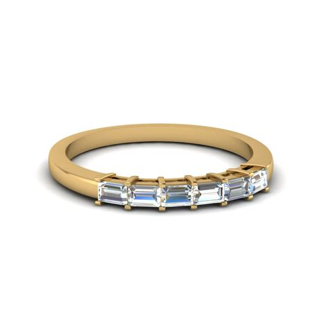 baguette cut womens wedding band in 14k yellow