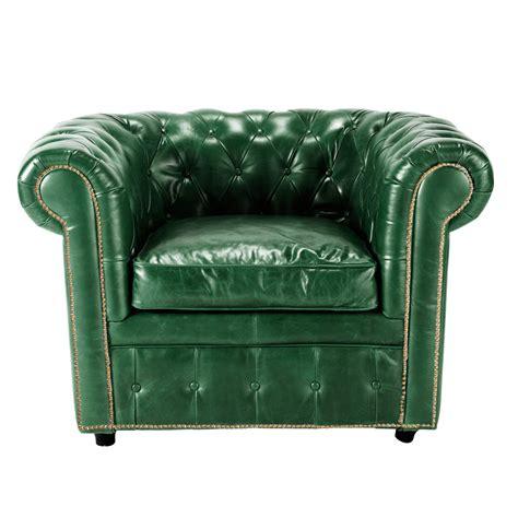 sillon de cuero sill 243 n de cuero verde vintage vintage maisons du monde