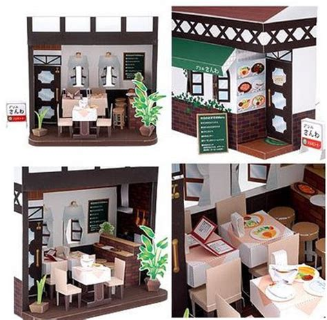 Papercraft Cafe - restaurant papercraft doll house