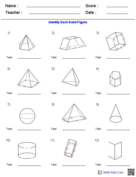 Surface Area Of Prisms Worksheet 7th Grade geometry worksheets surface area volume worksheets